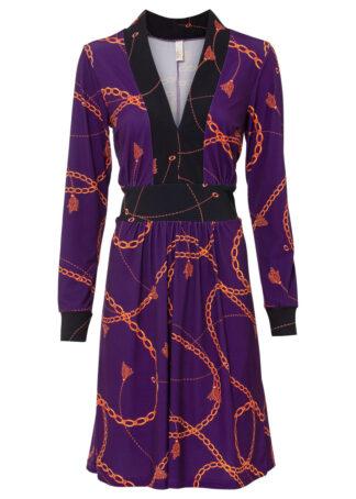 Sukienka z nadrukiem bonprix ciemny lila - pomarańczowy z nadrukiem