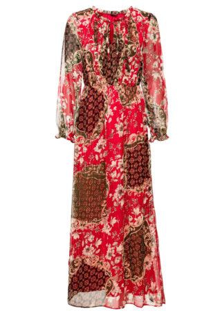 Długa sukienka z nadrukiem bonprix czerwony z nadrukiem
