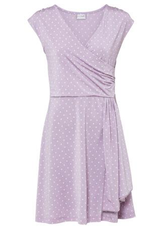 Sukienka z dżerseju w groszki bonprix dymny bez - biel wełny w groszki
