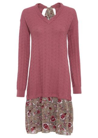 Sukienka dzianinowa ze spódniczką z tkaniny bonprix kremowy jeżynowy - beżowo-jasnoróżowy w kwiaty