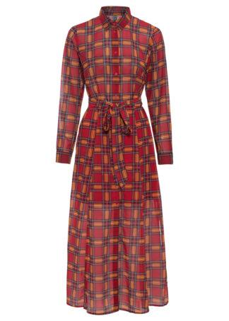 Sukienka szyfonowa w kratę bonprix ciemnoczerwony w kratę