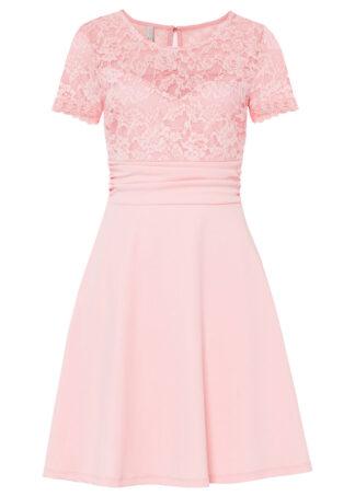 Sukienka z koronką bonprix pastelowy jasnoróżowy