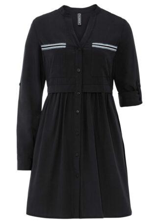 Krótka sukienka szmizjerka bonprix czarny