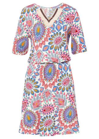Sukienka shirtowa z dekoracyjnym dekoltem bonprix niebiesko-różowy z nadrukiem