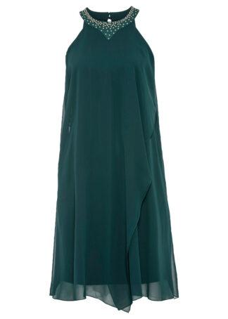 Sukienka z szyfonem i aplikacją bonprix niebieskozielony