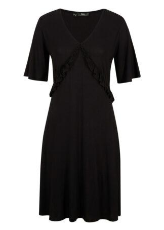 Sukienka z dżerseju z falbanami i dekoltem w serek bonprix czarny