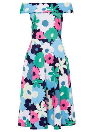 Sukienka z dekoltem carmen bonprix jasnoróżowo-biało-zielony w kwiaty