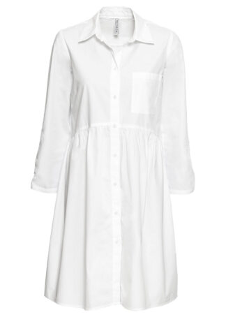 Sukienka szmizjerka bonprix biały