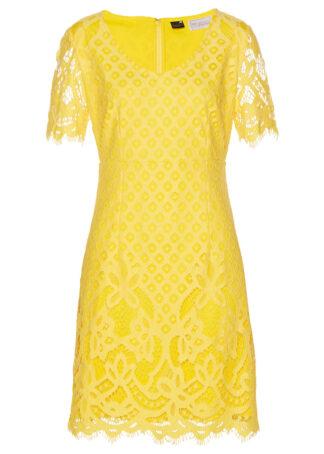 Sukienka koronkowa bonprix kremowy żółty
