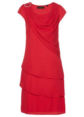 Sukienka szyfonowa w optyce warstwowej bonprix czerwony