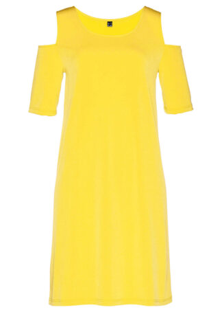 Sukienka cold-shoulder bonprix żółty