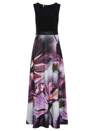 Sukienka w kwiaty bonprix czarno-lila w kwiaty