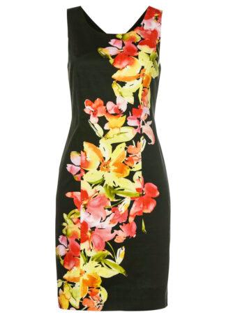 Sukienka ołówkowa z nadrukiem bonprix nocny oliwkowy - jasnoczerwony w kwiaty