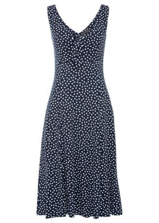 Sukienka midi w groszki bonprix ciemnoniebiesko-biały w kropki