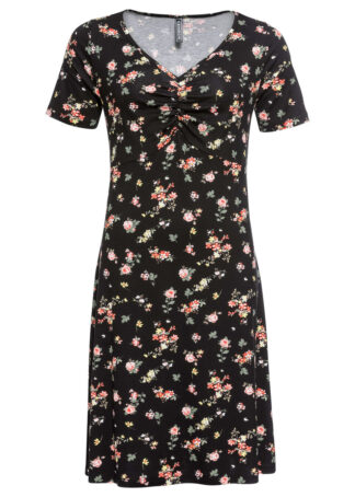 Sukienka shirtowa bonprix czarny w kwiaty