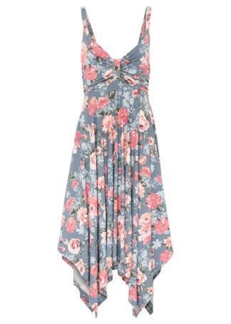 Sukienka midi z asymetryczną linią dołu
