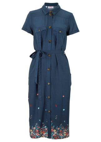 Sukienka szmizjerka z nadrukiem bonprix ciemnoniebieski z nadrukiem