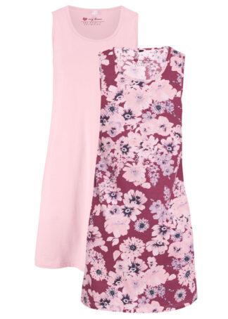 Sukienka z dżerseju (2 szt.) bonprix jeżynowy w kwiaty + pastelowy jasnoróżowy