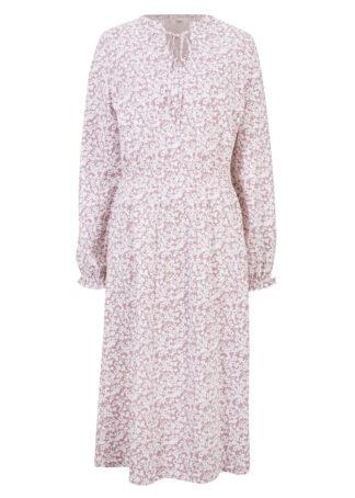 Sukienka midi w kwiaty bonprix różowobrązowy w kwiaty
