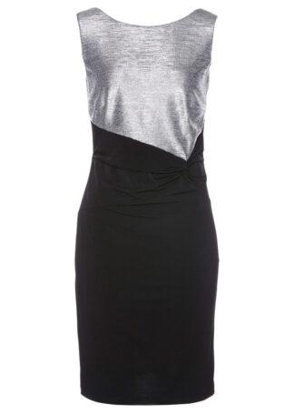 Sukienka wieczorowa bonprix czarno-srebrny metaliczny