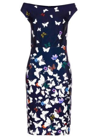 Sukienka bonprix ciemnoniebieski w kwiaty