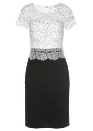 Sukienka z koronką bonprix czarno-biel wełny