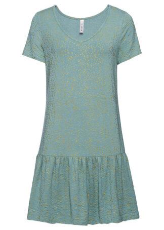 Sukienka shirtowa z falbaną i połyskującym nadrukiem bonprix niebieski mineralny w groszki