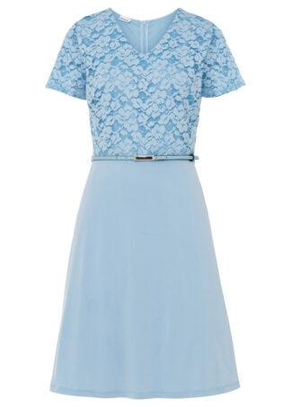 Sukienka z paskiem bonprix lodowy niebieski