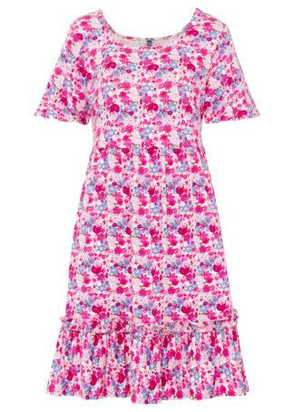 Sukienka shirtowa bonprix kolor bzu w kwiaty