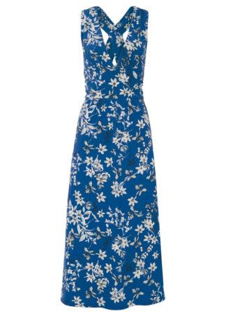 Długa sukienka bonprix lazurowy w roślinny wzór