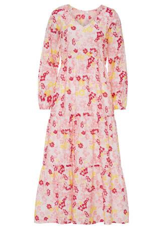 Długa sukienka w kwiaty bonprix biel wełny - kremowy jasnoróżowy w kwiaty