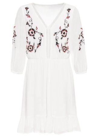Sukienka tunikowa z haftem bonprix biel wełny