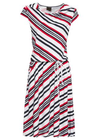 """Sukienka z dżerseju z dekoltem """"wodą"""" bonprix biało-czarno-czerwony w paski"""