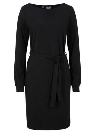 Sukienka z wiązanym paskiem bonprix czarny