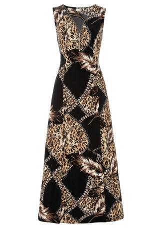 Sukienka ze stretchem bonprix czarny z nadrukiem