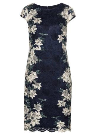 Sukienka koronkowa z nadrukiem bonprix ciemnoniebiesko-stary jasnoróżowy w kwiaty