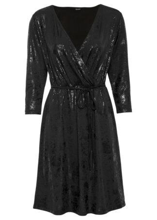 Sukienka z połyskującego materiału bonprix czarny