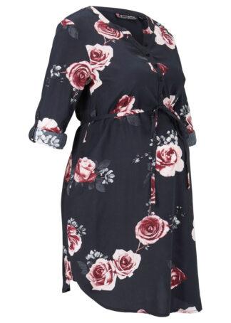Sukienka ciążowa i do karmienia piersią bonprix czarny w kwiaty