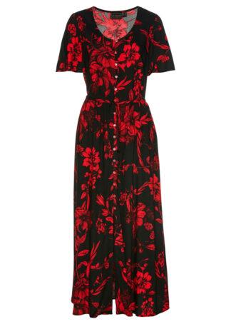 Długa sukienka z wiskozy bonprix czarno-czerwony w kwiaty