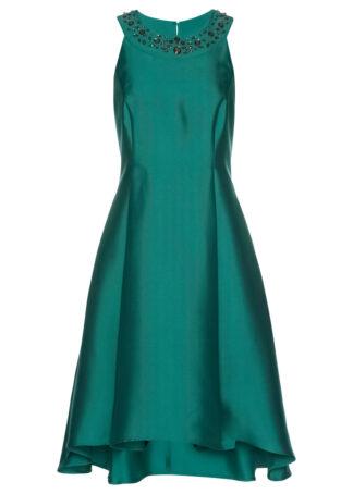 Sukienka z tafty z ozdobnymi kamieniami bonprix dymny szmaragdowy