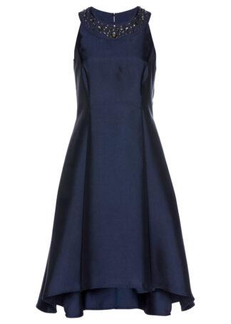 Sukienka z tafty z ozdobnymi kamieniami bonprix ciemnoniebieski