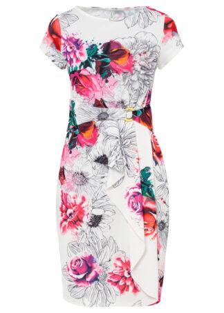 Sukienka z falbaną bonprix biało-różowy w kwiaty