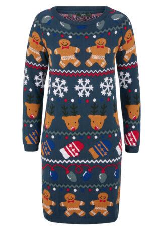 Sukienka dzianinowa z bożonarodzeniowym nadrukiem bonprix ciemnoniebieski wzorzysty