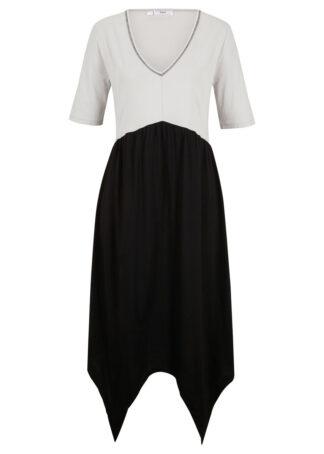 Dwukolorowa sukienka z dżerseju