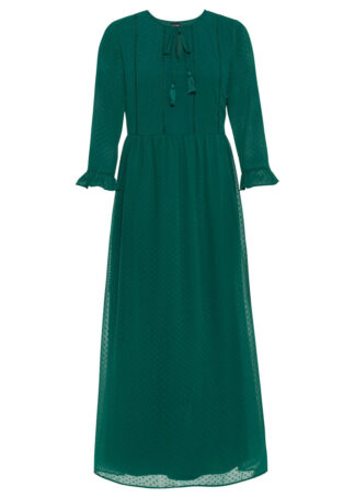 Długa sukienka z koronką bonprix ciemnozielony