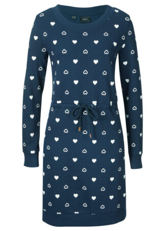 Sukienka dresowa bonprix ciemnoniebieski wzorzysty