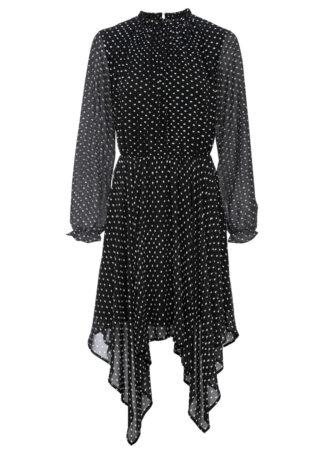 Sukienka z dłuższymi bokami bonprix czarno-biały w kropki