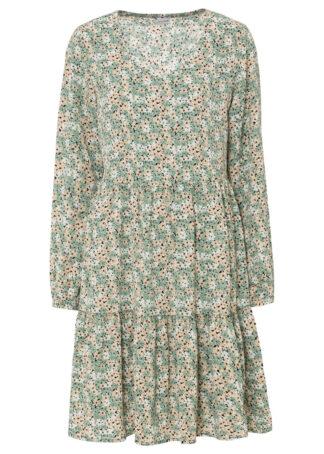 Sukienka z falbanami bonprix szarozielony w kwiaty