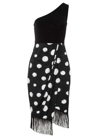 Sukienka one-shoulder bonprix czarno-biel wełny w kropki