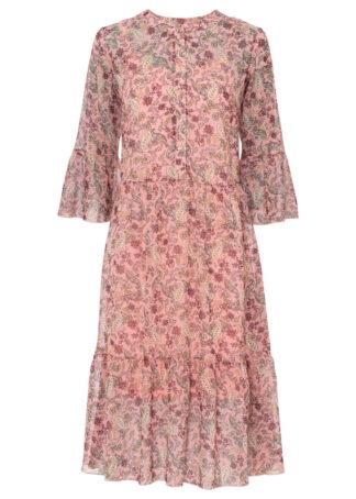 Sukienka szyfonowa z nadrukiem bonprix jasnoróżowy w kwiaty